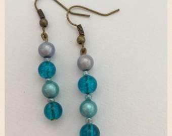 Hues of Blues and bronze earrings