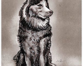Custom personalized animal and pet portrait drawing (Digital File of Pen & Ink Drawing)