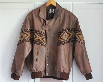 Leather Jacket Brown Aztec Pattern Vintage 1980s Men Clothing Hipster Retro Look Genuine Oldschool Oversized Fit / Extra Large Size