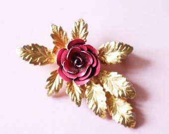 Sweet Little Vintage Gold And Red Enamel Rose Flower Brooch