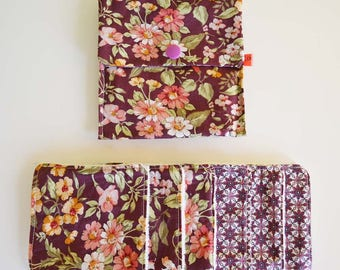 """Wipes cleansing washable tencel micro-eponge cover + organic """"Burgundy, green and orange flowers"""""""