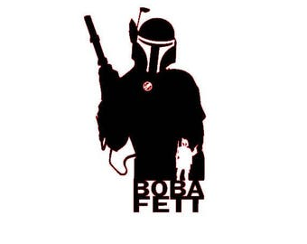 Star Wars Boba Fett Bounty Hunter Silhouette Vinyl Decal Sticker