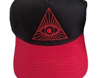 Illuminati Eye Triangle Embroidered 5-Panel Black/Red Hat
