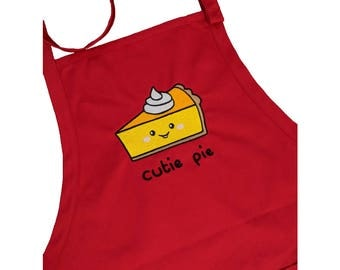 Cutie Pie Embroidered Red Apron