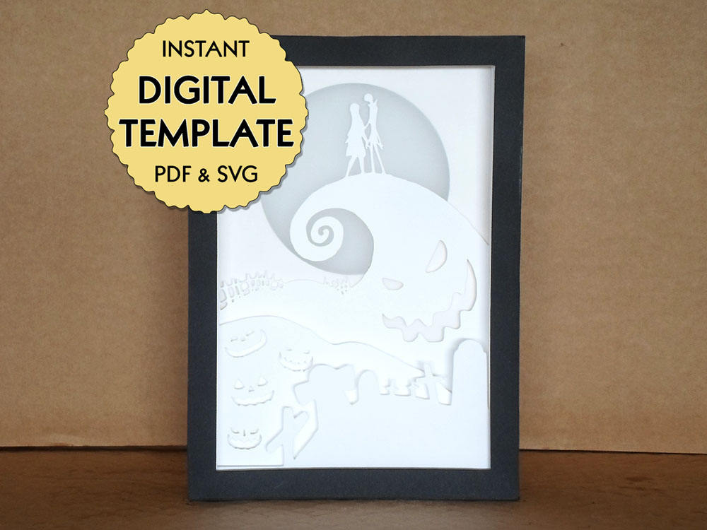 Template Nightmare Before Christmas Paper Cut File, Silhouette Light Box Tutorial - PDF, SVG ...