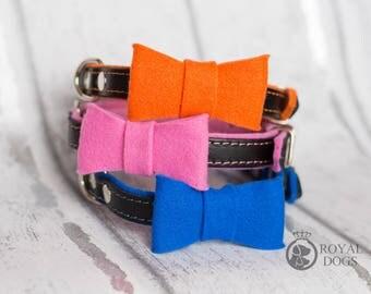 Leather Dog Collar With Bow Tie   Felt Dog Bow Tie   Leather Dog Collar   Black Leather Dog Collar  