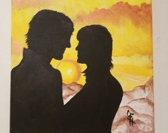 lovers at sunset- canvas painting