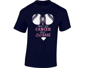 Don't Let Cancer Steal Second Base T shirts Tops  Breast Cancer Awareness Shirts T-shirts for Men