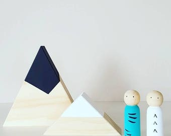 Wooden mountains - set of 2 - wooden triangles - children's decor - display shelf mountains