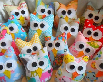 Plush Owl Party Favors  Ten 4x3 inch Fabric Owl Favors Birthday Party favors  Owl Baby Shower Favors
