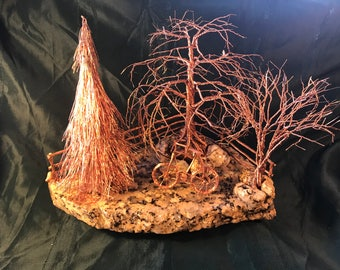 Old Bike in the Yard, copper wire trees, wire trees, copper sculpture, buffet table centerpiece, Men's gifts, man cave gifts, office gifts,