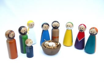 Nativity Peg Doll Set available in different skin tones