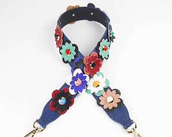 Leather Stud Bag Strap Colorful Leather flower Strap Removable Strap for Bag and Purses Interchangeable Strap