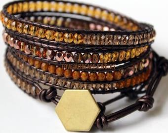 Leather Wrap Bracelet, Gold Wrap Bracelet, Childhood Cancer, Leather Beaded Wrap Bracelet, Wrap Bracelet, Beaded Wrap Bracelet, Leather Wrap