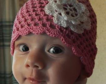 crohet baby hat, baby hat, cotton baby hat, sumer baby hat, pink baby hat
