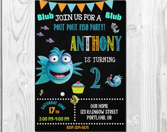 Pout Pout Fish Invitation First birthday chalkboard invite Under the sea 1st Bday party outfit printable For boys and girls