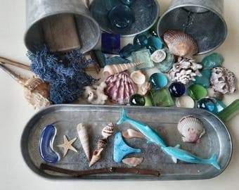 Ocean themed Loose Parts  Open-ended Reggio Emilia Inspired Tinker Tray Montessori Sensory Art Therapy Waldorf Charlotte Mason Nature Study