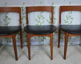 Danish Retro Vintage Three Chairs Refurbished and Varnish