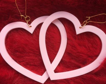 Large Kitsch Kawaii Valentines Baby Pink Pastel Oversized Perspex Acrylic Heart Dangle Earrings