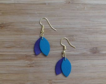 Dangle earrings gold leather and shape petals, light blue and dark blue