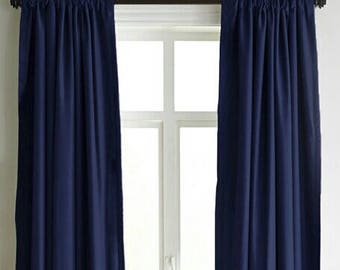 Navy Cotton Velvet Curtains, Luxury Handmade Designer Drape Curtains,  Window Curtain Drapery, Navy