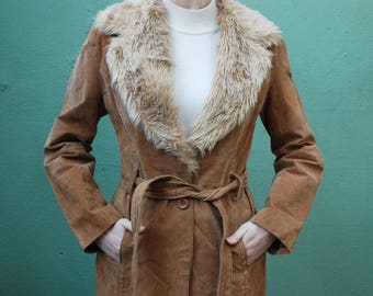 vintage 90s camel suede belted jacket with faux shearling collar / s / m