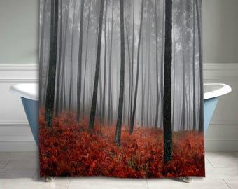 Mystic Forest Trees Shower Curtain Leaves Red Grass Modern Art Flower Rainy Foggy Gray Scene Bathroom Decor