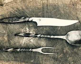 Blacksmith's Hand-Forged Flatware Set