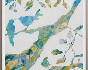 Tree Painting, Trees Original Abstract Art Painting, Birds on Tree, Art by Lara Wonderland