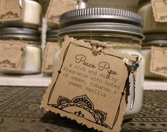 Peace Pipe - Scented Handmade Natural Soy Candle With Wood Wick