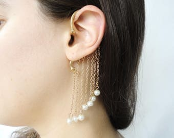 Pearl ear cuff no piercing, non pierced ear cuff with chain, boho chic full ear cuff earrings, whole ear cuff, around ear wrap earring