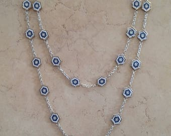 Necklace with chain peyote beads MIYUKI DELICA 11/0
