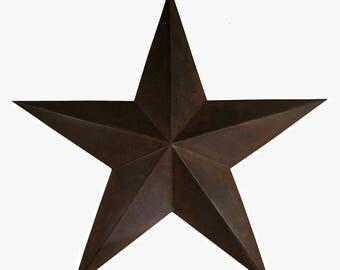 "Farmhouse Rustic Large Tin Metal Rusty 5 Point Barn Star (24"" x 24"")"