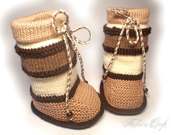 "Booties-boots""Coffee with milk"",baby's bootees,Baby shoes, Wool booties,knitted boots,knit baby,neutral baby bootees,baby gift"
