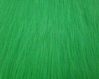 Long Pile Faux Fur Fabric LIME GREEN