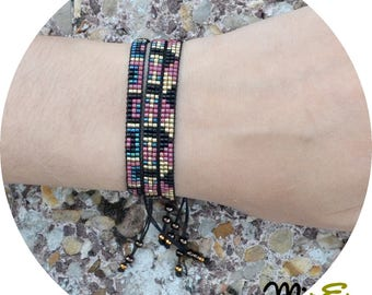 Bracelets women, beadwork, bracelet woven, bohostyle, clasp coulisant, designer jewelery