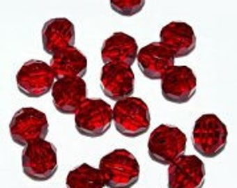 JOLLY STORE Crafts 6mm Faceted Beads Ruby Color, 500pcs