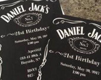 First Birthday Invite - Jack Daniel theme