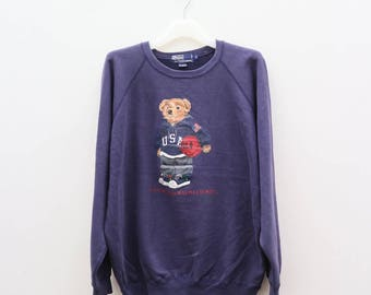 Vintage POLO Bear Ralph Lauren Big Logo Blue Pullover Sweater Sweatshirt Size M