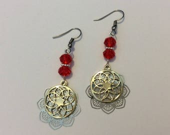 """Earrings """"Red faceted beads and pendants"""""""