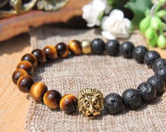 men beaded bracelet lava bracelet energy bracelet tiger eye bracelet mens power bracelet gift|for|men gold lion bracelet lion head bracelet