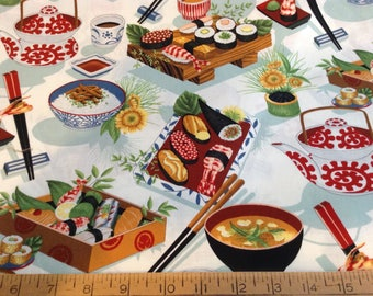 1 and 1/8 yard of Sushi food theme cotton fabric