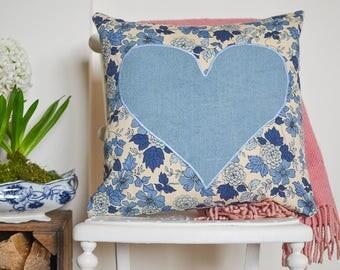 Blue retro floral print with vintage linen heart detail | Square vintage cushion | unique vintage fabric cushion | Retro sofa cushion | SALE