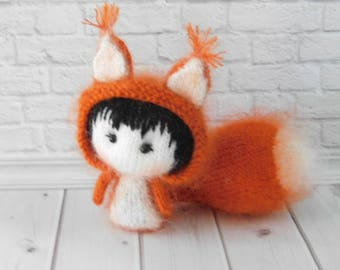 Stuffed  Animal Squirrel Personalized Soft toy Cute Squirrel Knitted Animal  Amigurumi Doll Baby Shower Gift Nursery Dekor Squirrel Toy