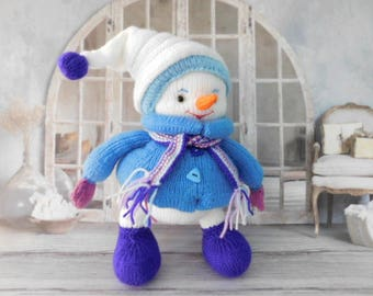 Knitted  Snowman Handmade Winter gifts Christmas Snowmen toys  New year Snowman Present gift idea Personalized Knitted toy
