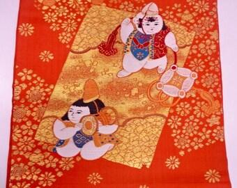 Nagoya obi orange, vintage Japanese obi with kids, embroidered silk obi belt, vintage obi, orange gold_0004
