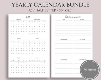 """Yearly Calendar Bundle, 2018 and 2019 Year-at-a-Glance, Important Dates, Holidays, Birthday Tracker ~ A5 / 5.5"""" x 8.5"""" Instant Download"""