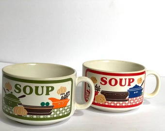 Vintage Retro Soup Mugs // AS IS