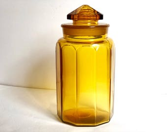 Vintage Amber Glass Geometric Canister