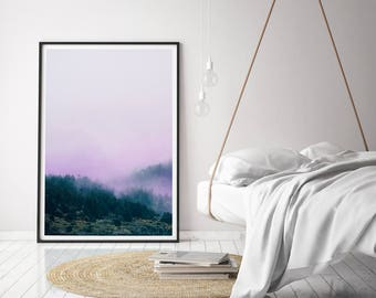 Minimalist Fog Printable, Abstract Forest Print, Purple Mist Landscape, Modern Nature Photography, Home Decor, Contemporary Wall Art, Poster
